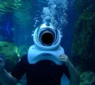 Escafandro moderno em parque aquático de Orlando.