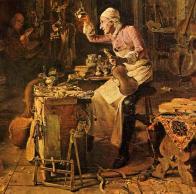 Stradivarius praticando a luthieria, seus trabalhos são reconhecidos até os dias de hoje.
